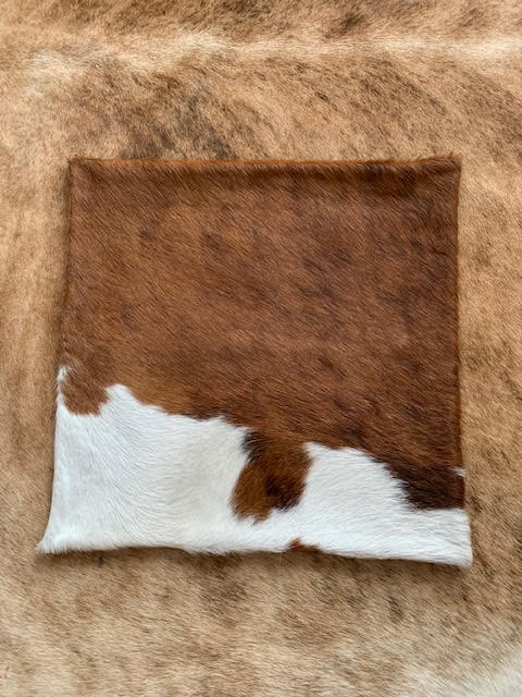 A-1070 Brown and White Cowhide Pillow Cover - Size: 18 in x 18 in