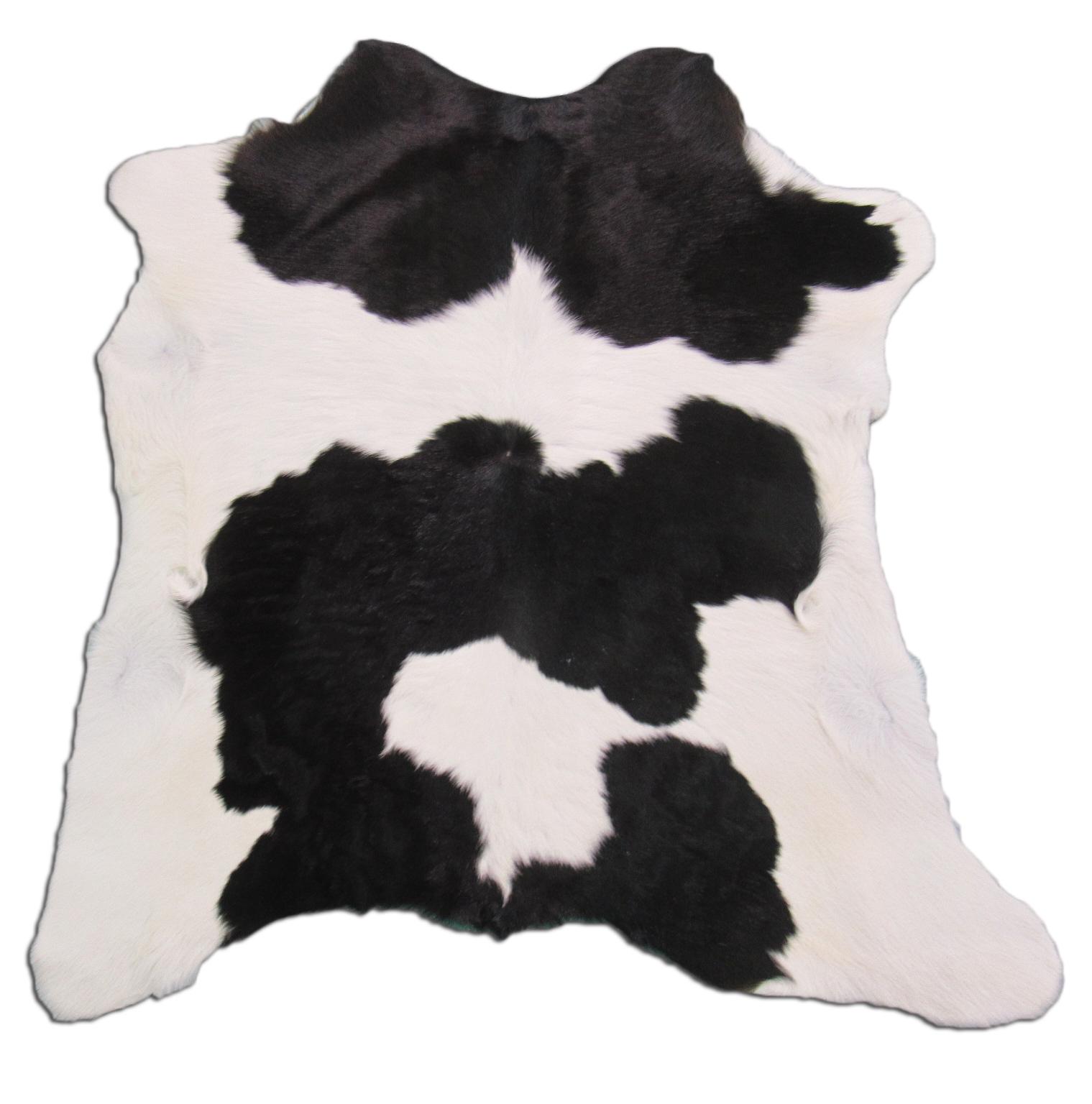 A-1161 Black & White Calf Skin Rug - Size: 35 inches X 31 inches