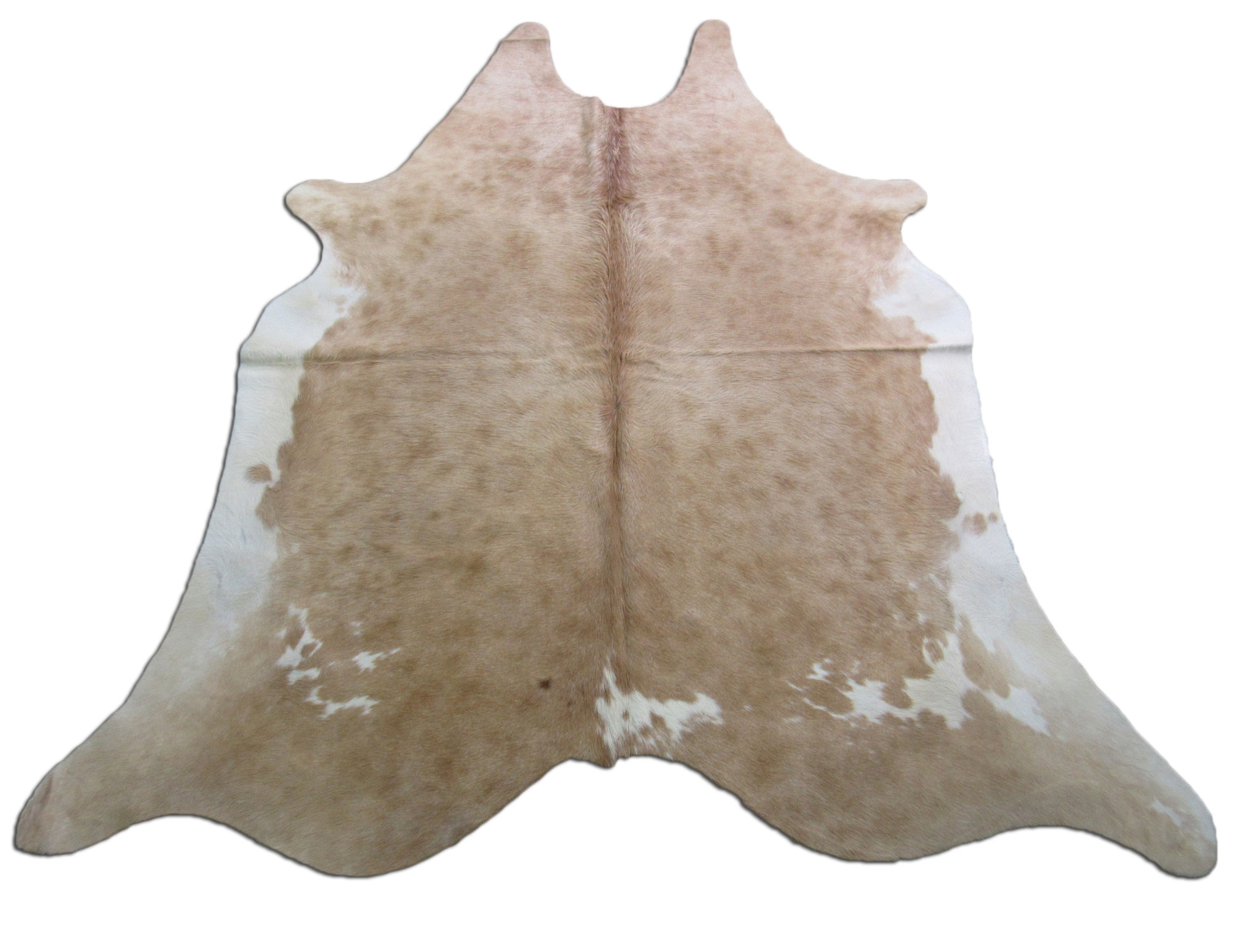 A-1229 Beige and White Speckled Cowhide Rug Size: 7 1/2' X 6 3/4'