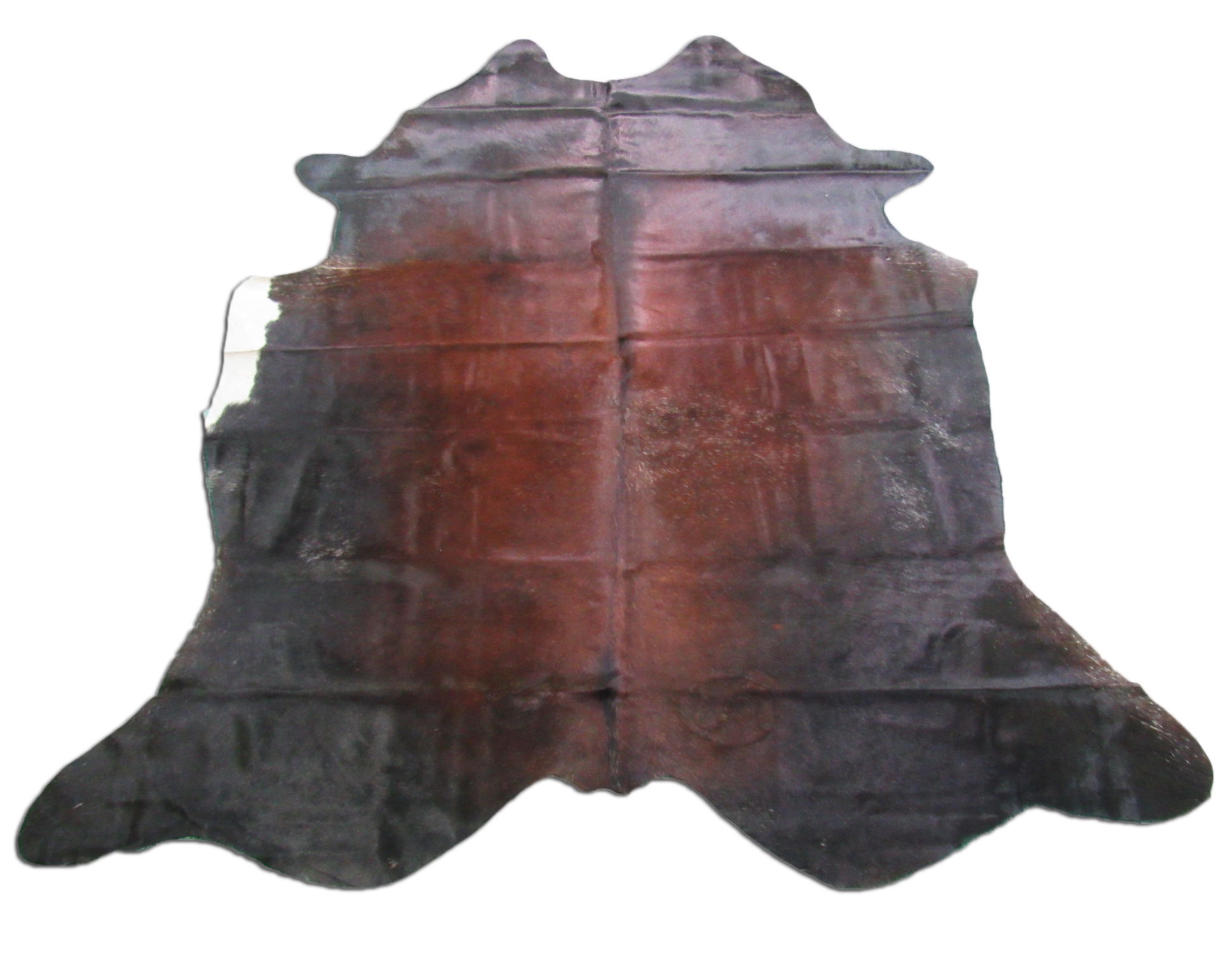 A-1240 Brown and White Cowhide Rug Size: 7 1/2' X 7'