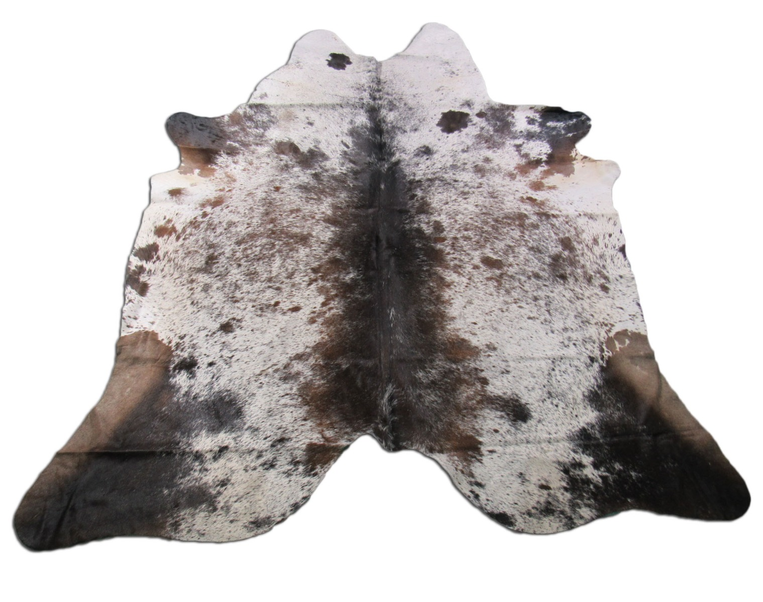 A-1264 Brown and White Salt & Pepper Cowhide Rug Size: 7' X 6 3/4'