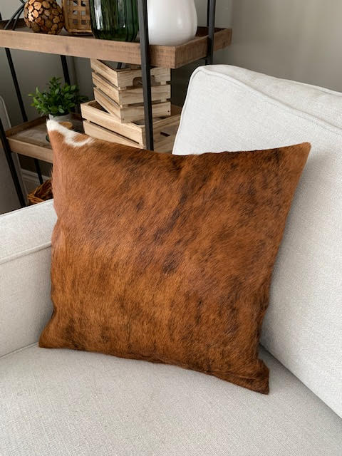 A-1318 Caramel Brindle Cowhide Pillow Cover - Size: 18 in x 18 in