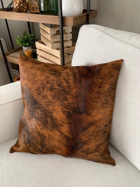 A-1319 Dark Brindle Cowhide Pillow Cover - Size: 18 in x 18 in