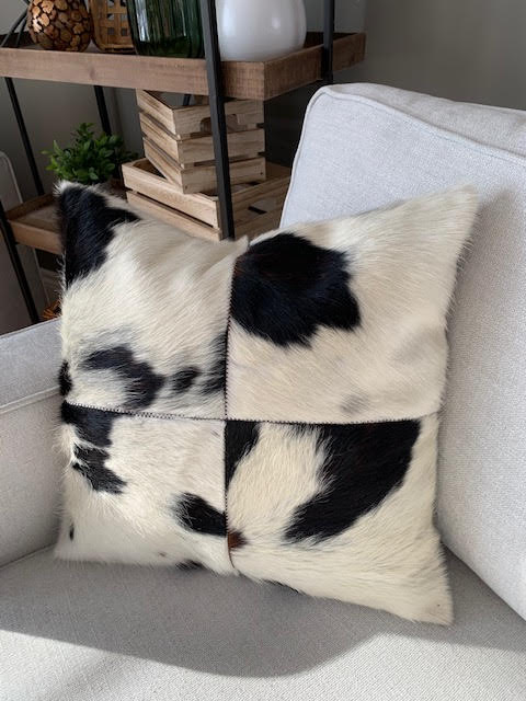 A-1320 Spotted Black and White Cowhide Pillow Cover - Size: 18 in x 18 in