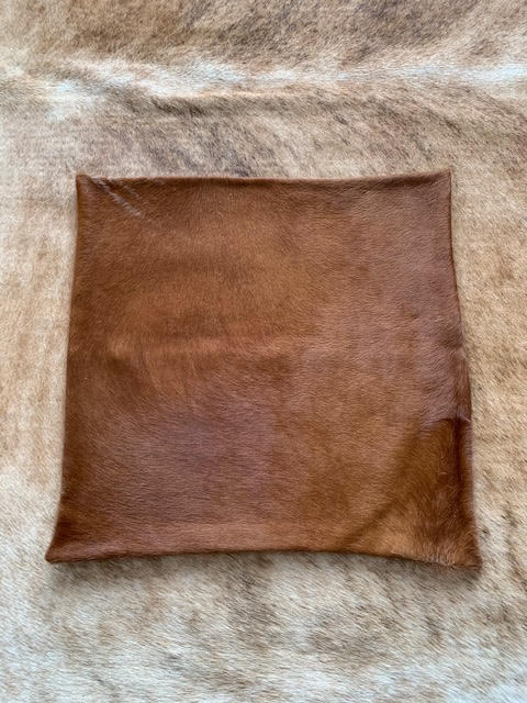 A-1322 Caramel Brown Cowhide Pillow Cover - Size: 18 in x 18 in