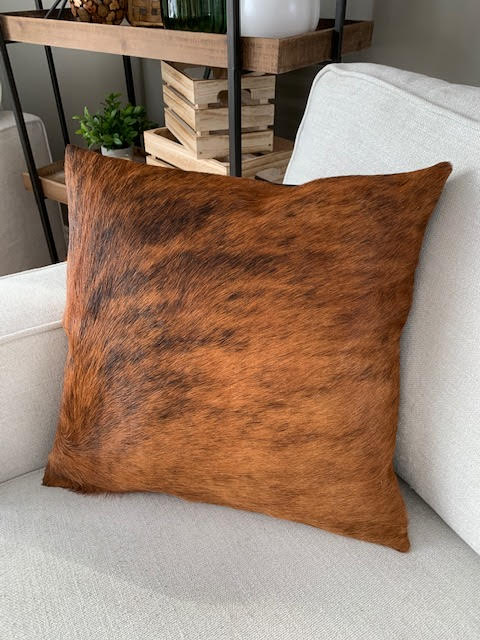 A-1325 Caramel Brindle Cowhide Pillow Cover - Size: 18 in x 18 in