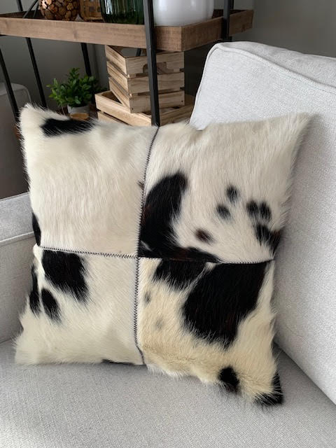 A-1328 Spotted Black and White Cowhide Pillow Cover - Size: 18 in x 18 in