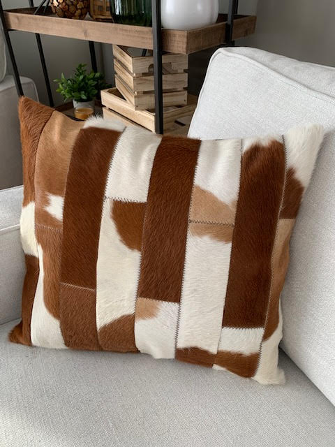 A-1329 Brown and White Patchwork Cowhide Pillow Cover - Size: 20 in x 18 in
