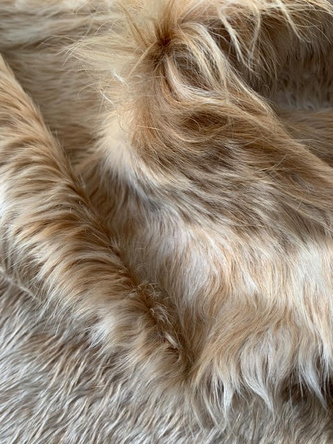 A-1339 Beige and White Long Hair Cowhide Rug Size: 7' X 6 3/4'