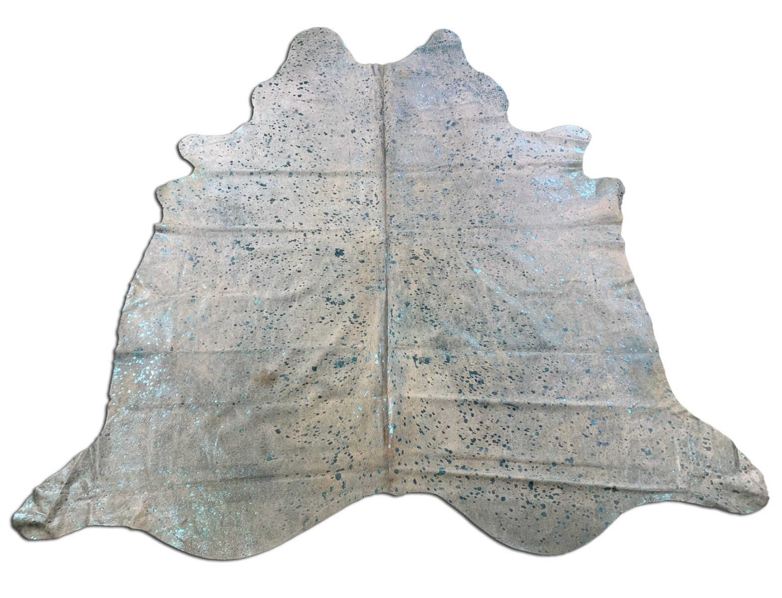 A-1342 Turquoise Metallic Cowhide Rug Size: 7 3/4' X 7 1/4'