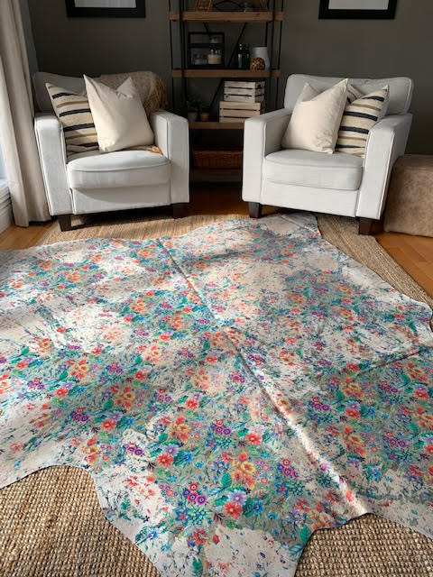 A-1344-2 Floral Acid Washed Cowhide Rug Size: 7 1/4' X 7'