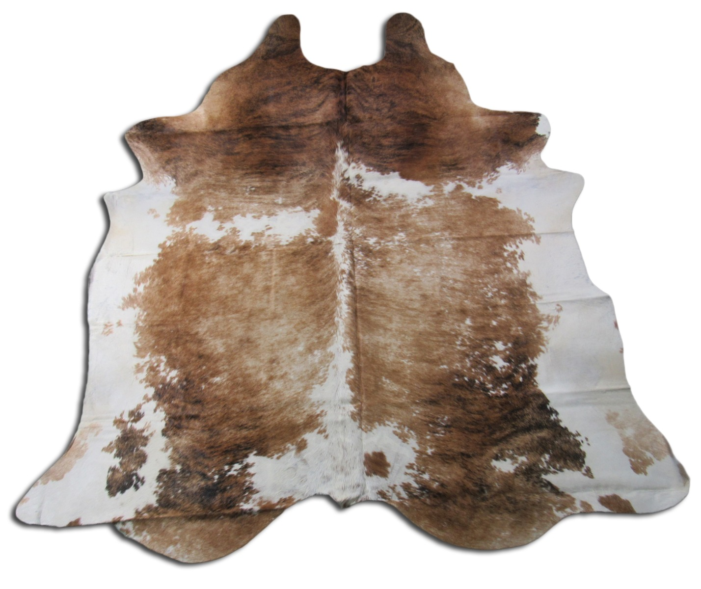 A-1361 Beige and White Brindle Cowhide Rug Size: 8 1/4' X 7'