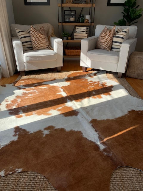 A-1366 Brown and White Spotted Cowhide Rug Size: 7 1/2' X 7'