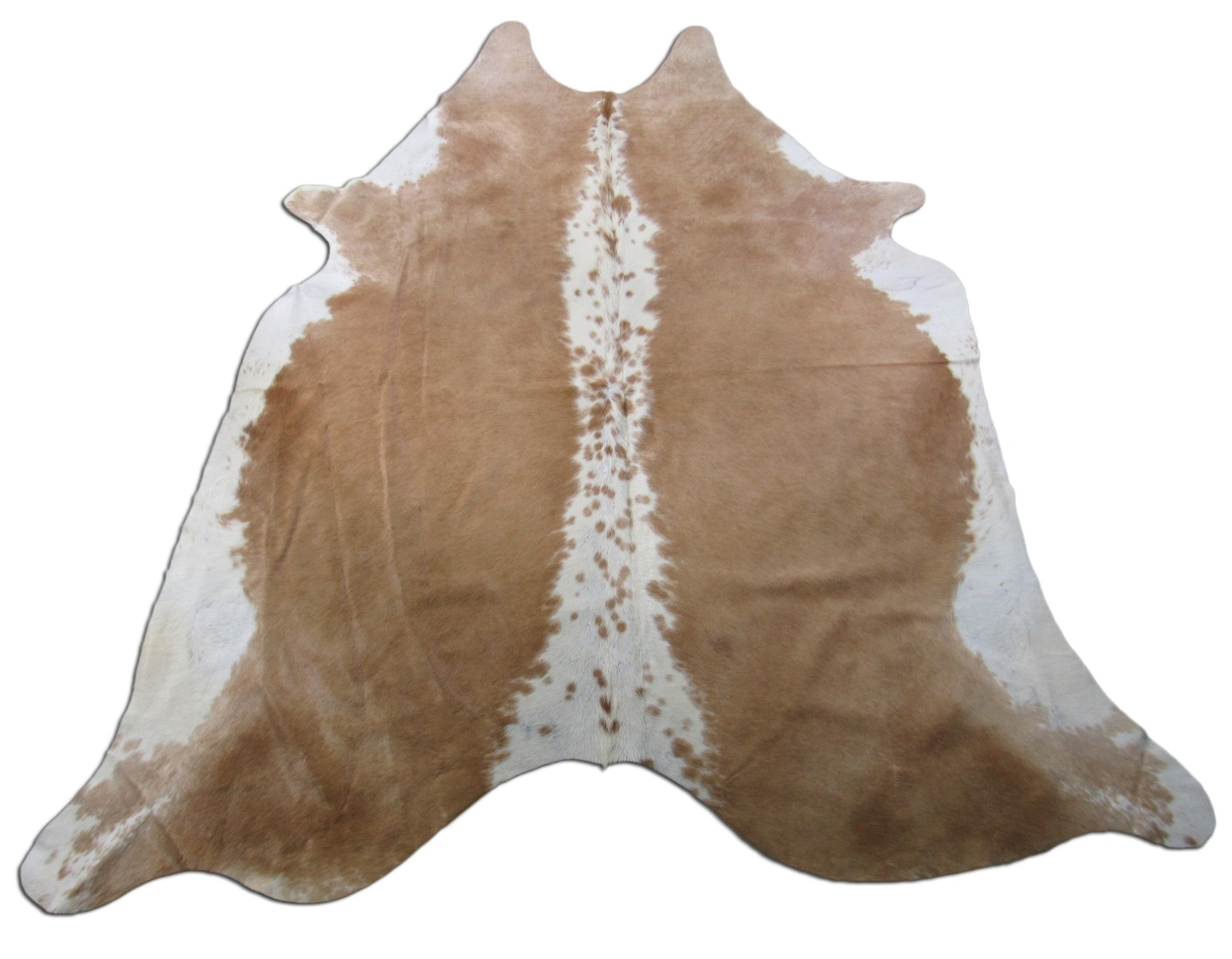 A-1370 Hereford Caramel And White Cowhide Rug Size: 7 3/4' X 7'