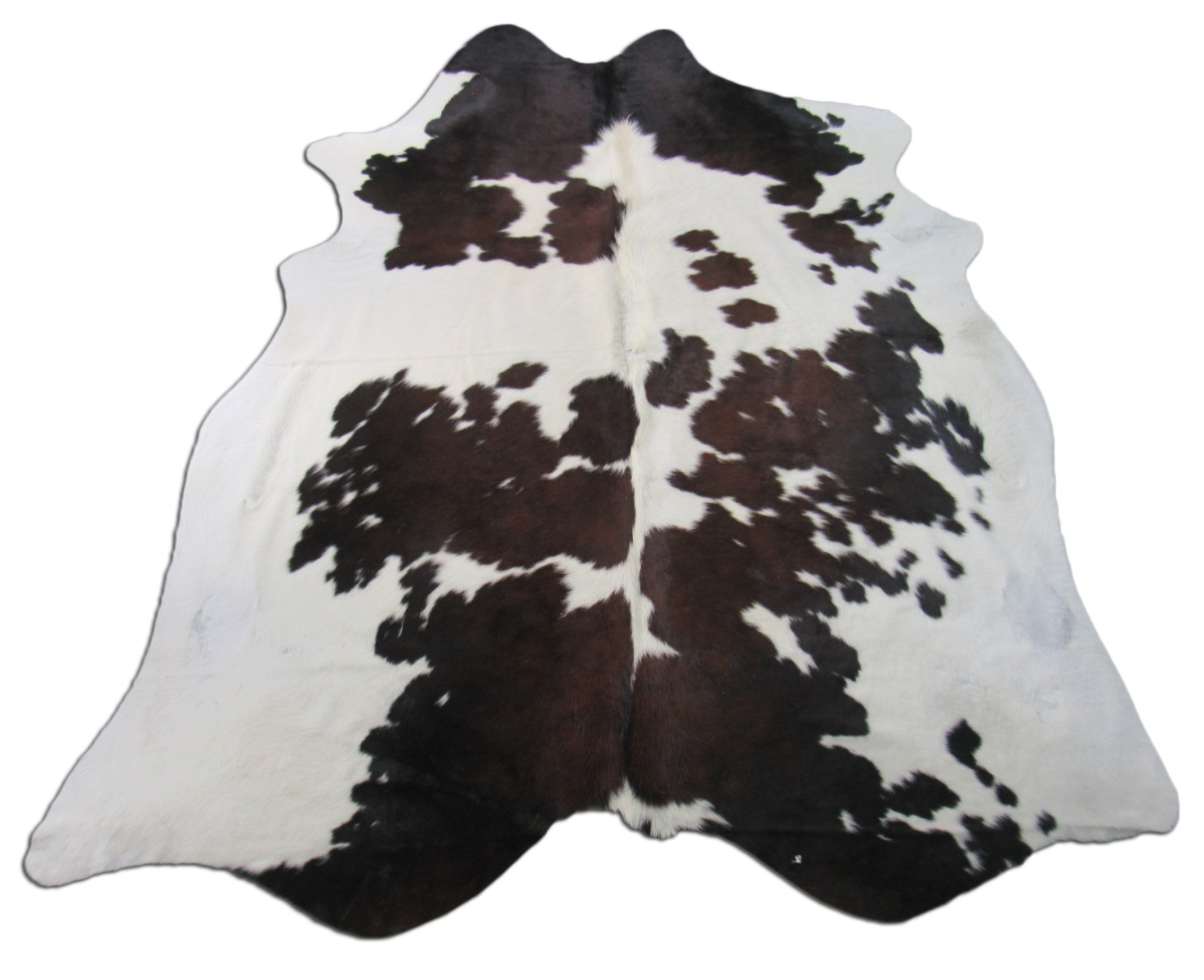 A-1375 Brown and White Speckled Cowhide Rug Size: 7 1/2' X 6 3/4'