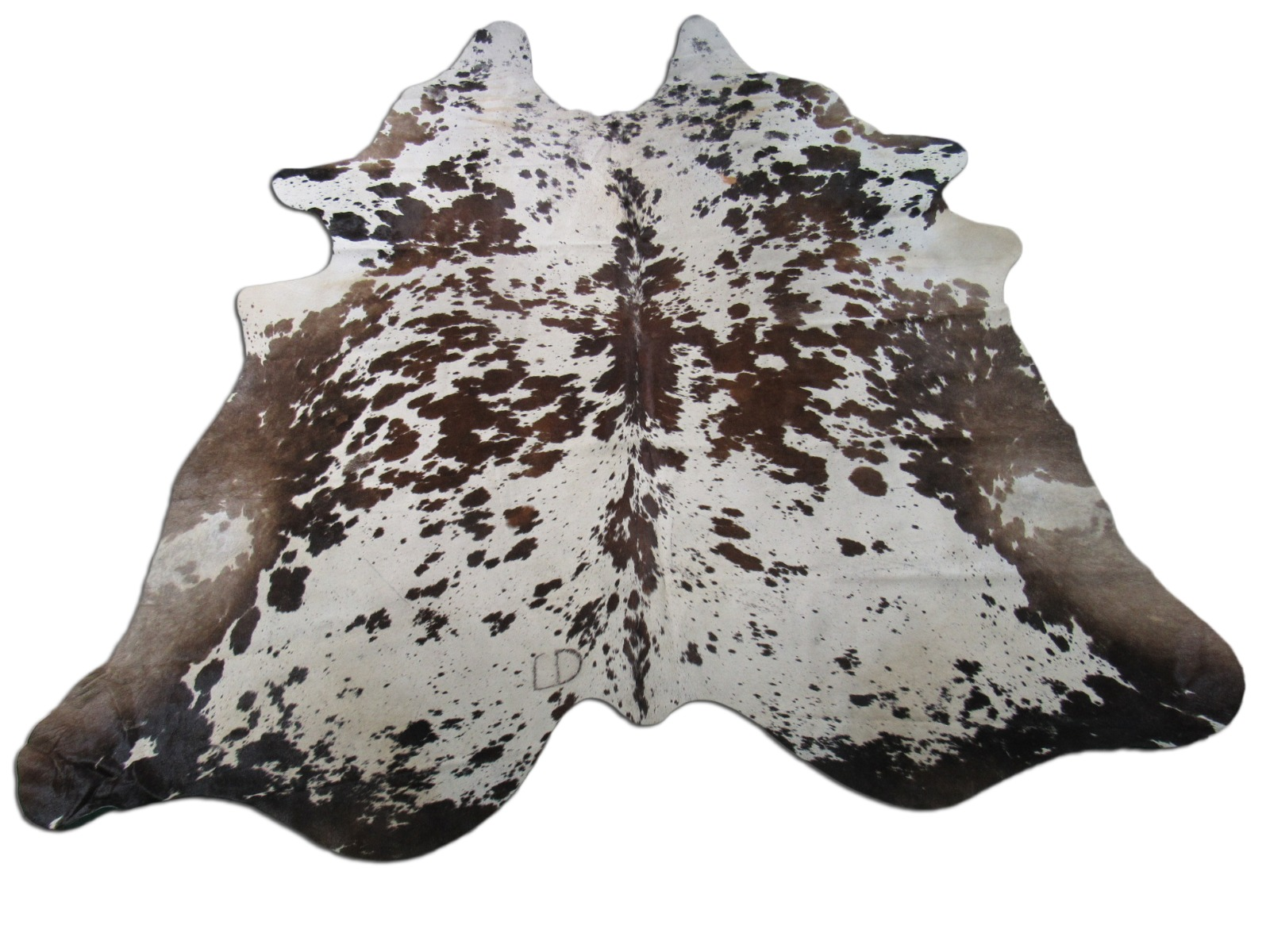 A-1376 Brown and White Speckled Cowhide Rug Size: 8' X 7 3/4'