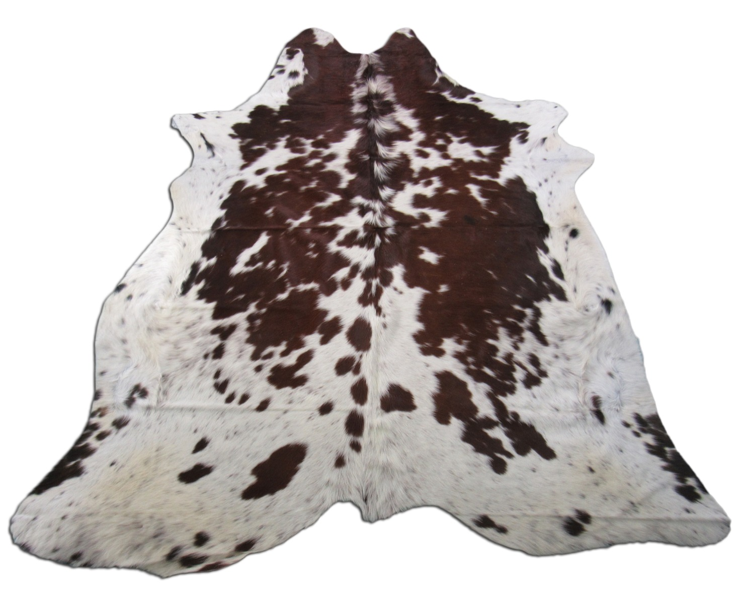 A-1377 Brown and White Speckled Cowhide Rug Size: 7' X 6'