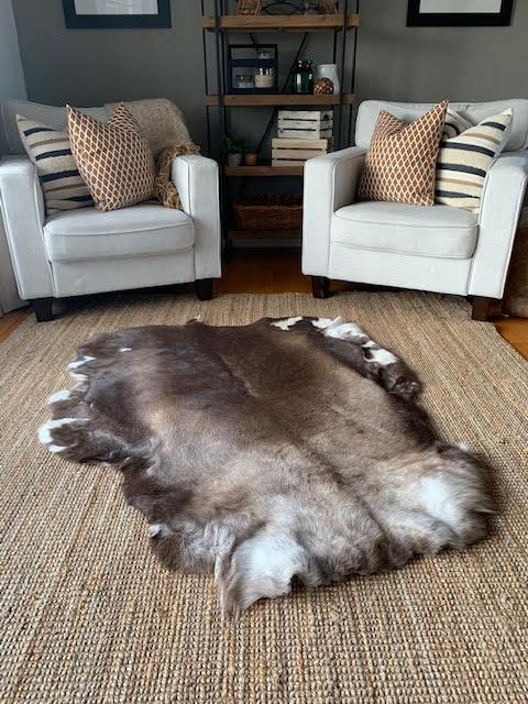 "A-1382 Reindeer Skin from Scandinavia Size: 55"" X 45"" Genuine Reindeer Skin"