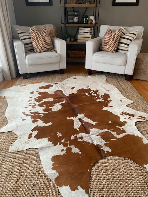A-1397 Brown and White Speckled Cowhide Rug Size: 7' X 6 1/2'