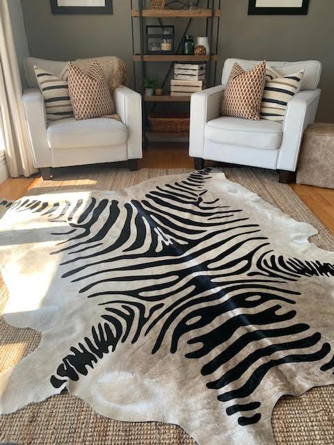 A-1404 Zebra Print Cowhide Rug Size: 7' X 6 1/4'