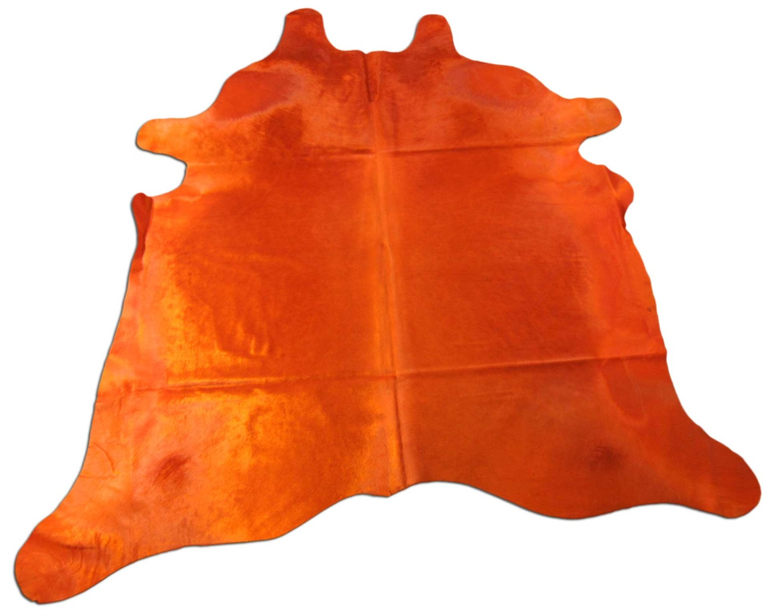 A-1414 Dyed Orange Cowhide Rug Size: 7 1/3' X 7'