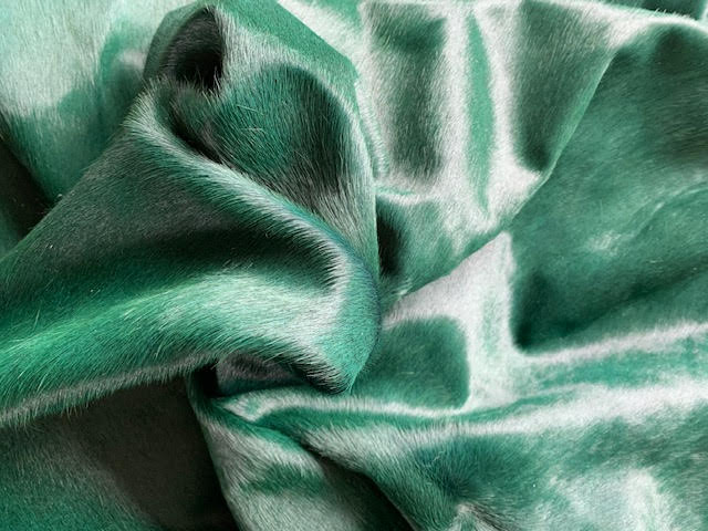 A-1424 Dyed Emerald Green Cowhide Rug Size: 6 3/4' X 7'
