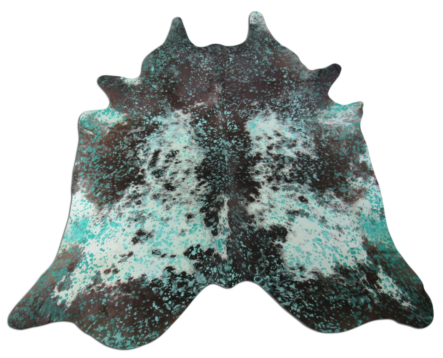 A-1432 Turquoise Acid Washed Cowhide Rug Size: 8' X 6 1/2'