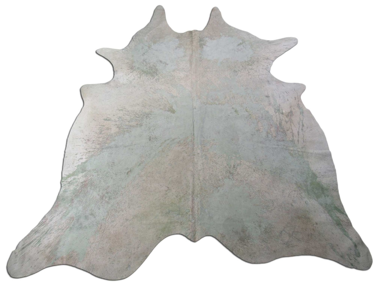A-1434 Light Green Acid Washed Cowhide Rug Size: 7 1/2' X 6 1/2'