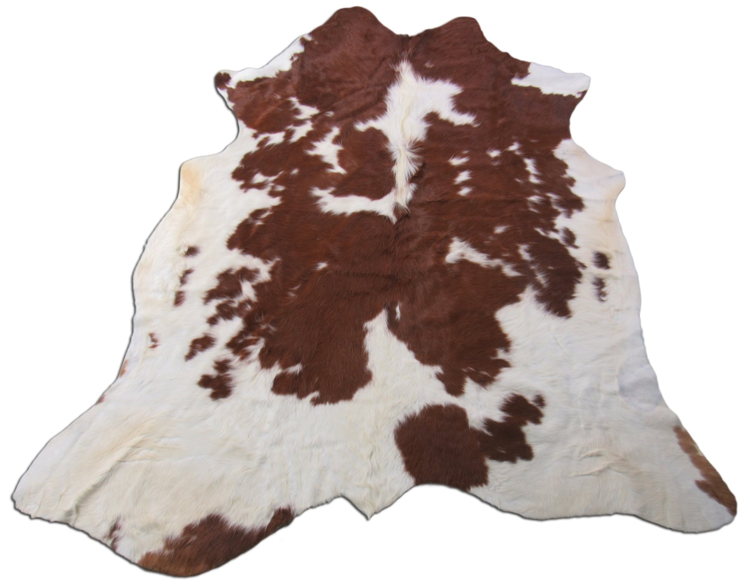 A-1437 Brown and White Spotted Cowhide Rug Size: 6 3/4' X 6'