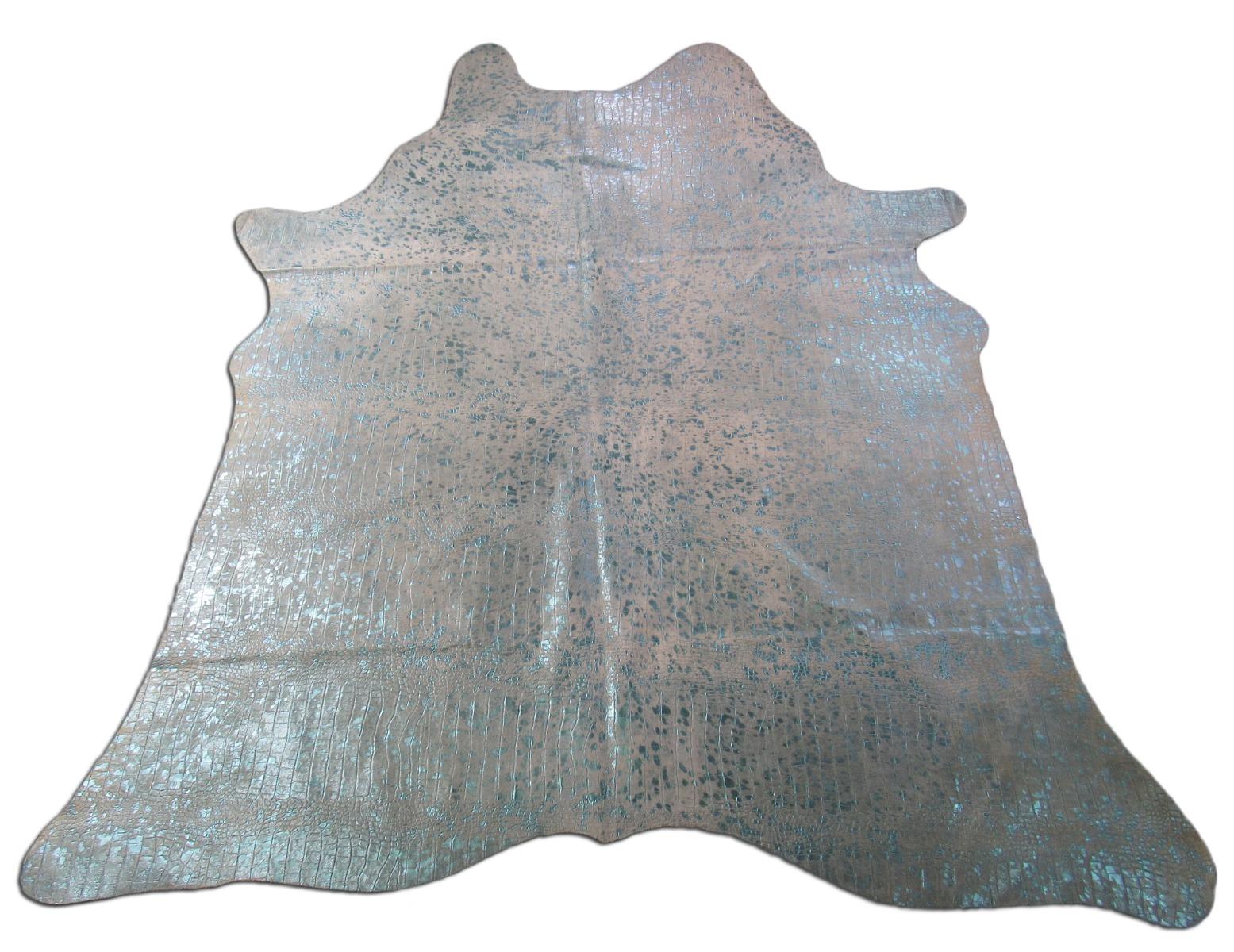 A-1438 Crocodile Embossed Turquoise Metallic Cowhide Rug Size: 7 3/4' X 6 1/2'