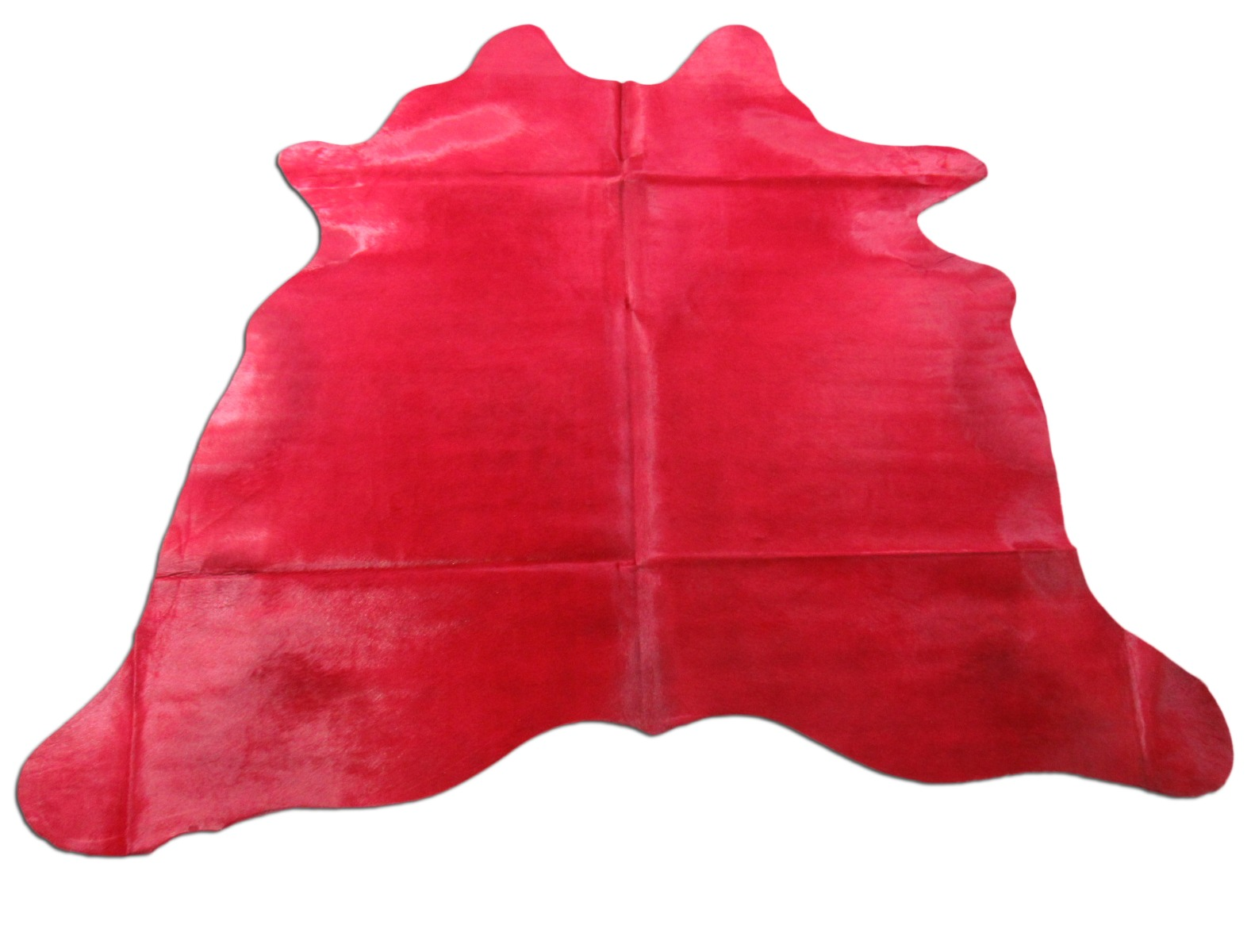 A-1440 Dyed Red Cowhide Rug with Backing Size: 6 3/4' X 7'