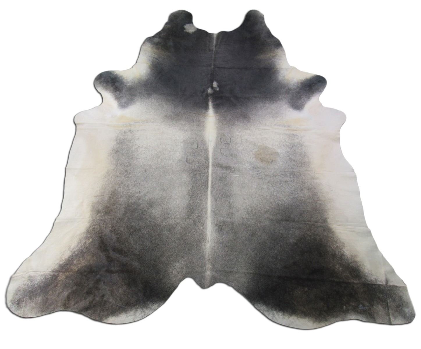 A-1441 Dark Grey White Belly Cowhide Rug Size: 9' X 7' *HUGE*