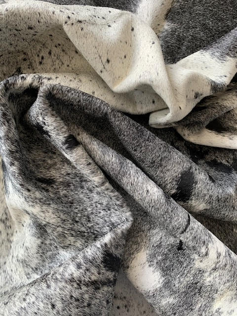 A-1450 Black and White Speckled Longhorn Cowhide Rug Size: 9' X 7 1/2' *HUGE*