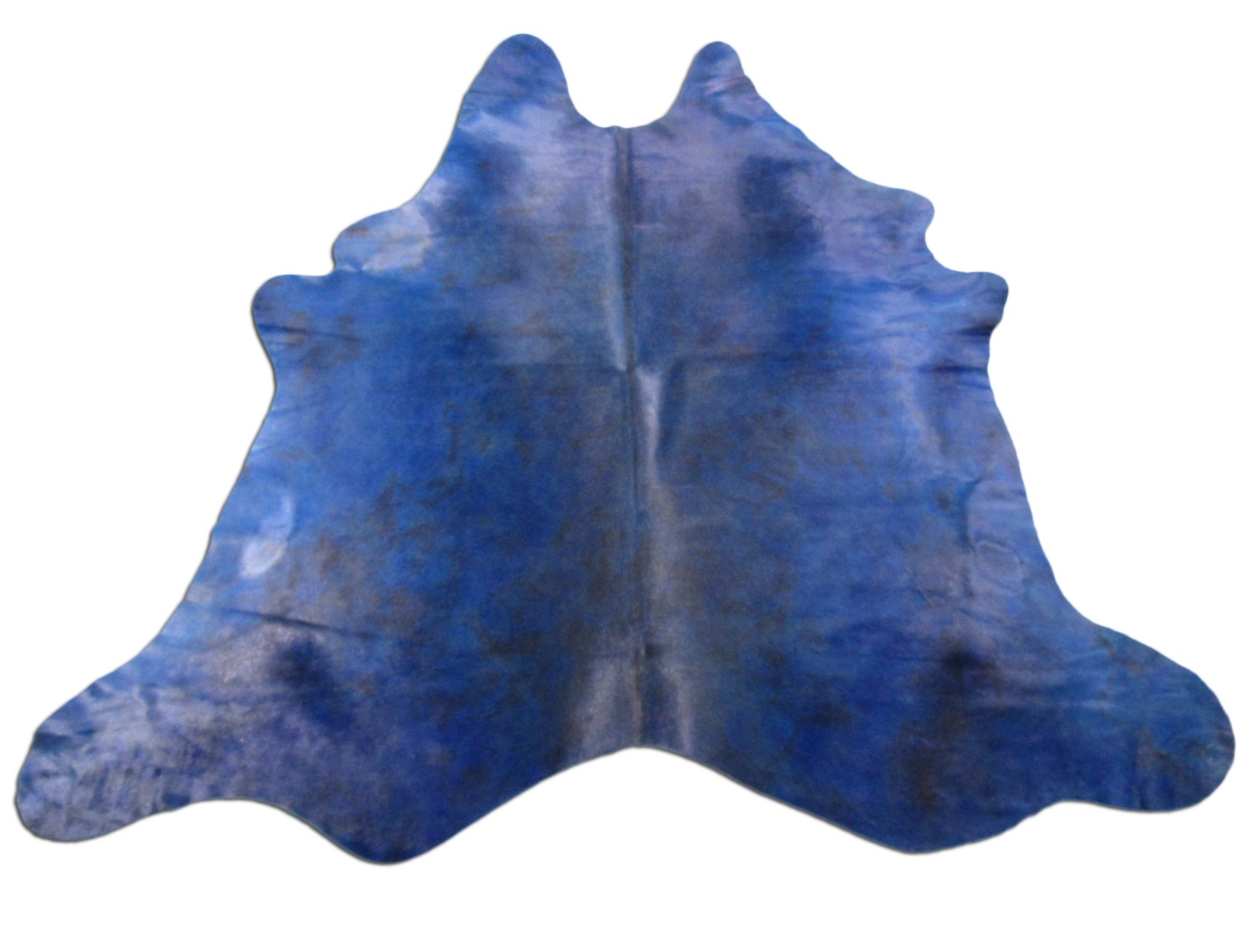 A-1457 Dyed Tie Dye Blue Cowhide Rug Size: 7' X 7'