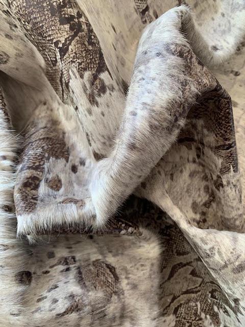 A-1458 Snake Print Acid Washed Cowhide Rug Size: 8' X 6 1/2'