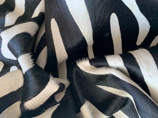 A-1459 African Zebra Print Cowhide Rug Size: 7' X 6 1/4'