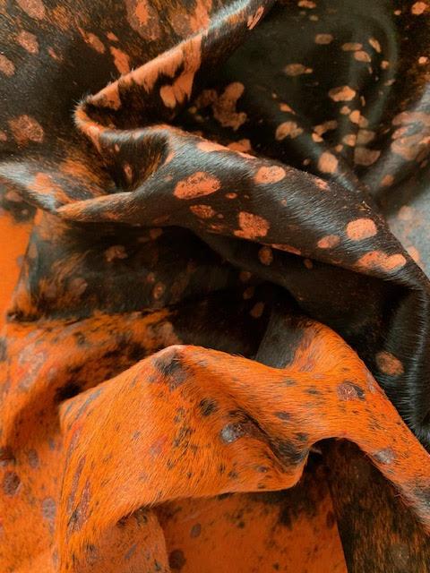 A-1524 Orange Acid Washed Cowhide Rug Size: 8 1/4' X 7 1/2'