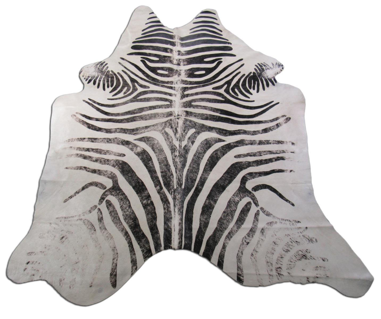 A-1542 Distressed Zebra Print Cowhide Rug Size: 7' X 6'