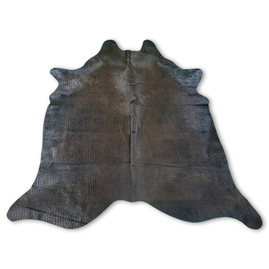 A-471 Dyed Brown Crocodile Embossed Cowhide Size: 8' X 7' *HUGE*