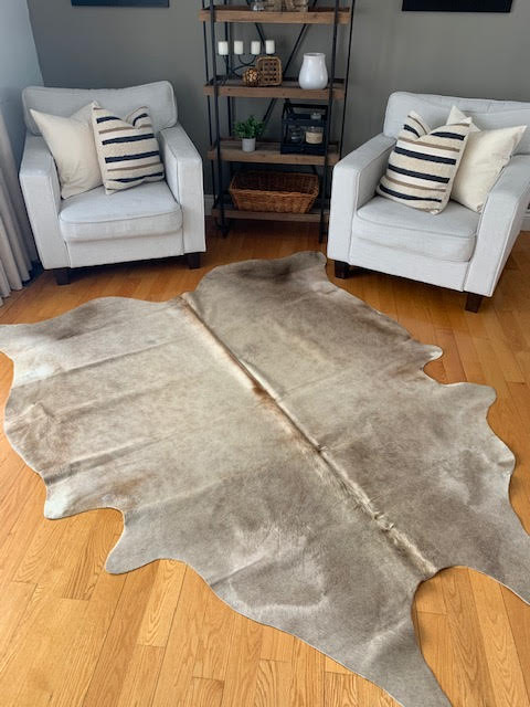 A-784 Taupe Cowhide Rug Size: 7 3/4' X 6 1/2'