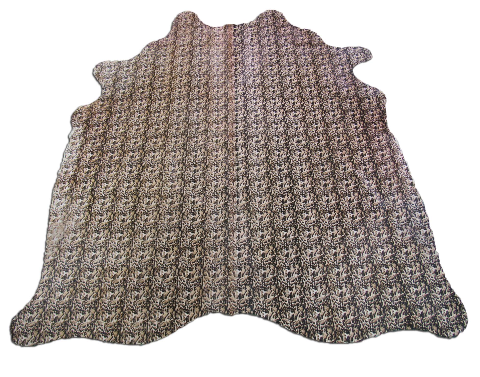 A-969 Snow Leopard Print Cowhide Rug Size: 7' X 6 1/2'