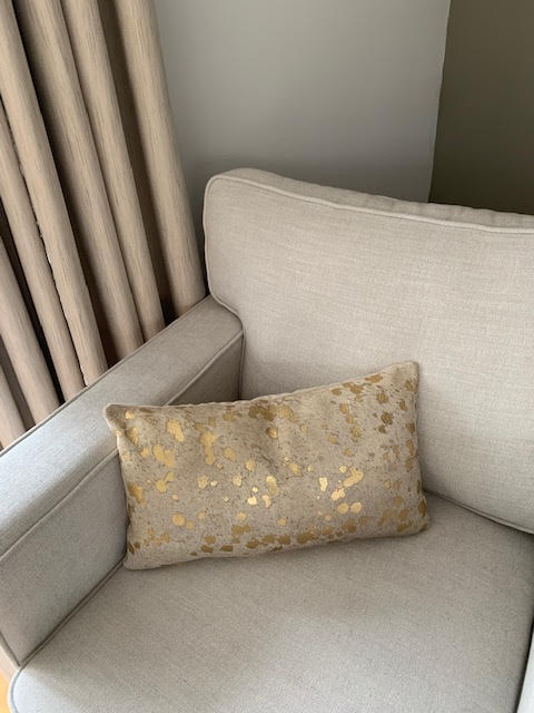 Gold Acid Washed Cowhide Pillow Cover - Lumbar - Size: 20 in x 11.5 in