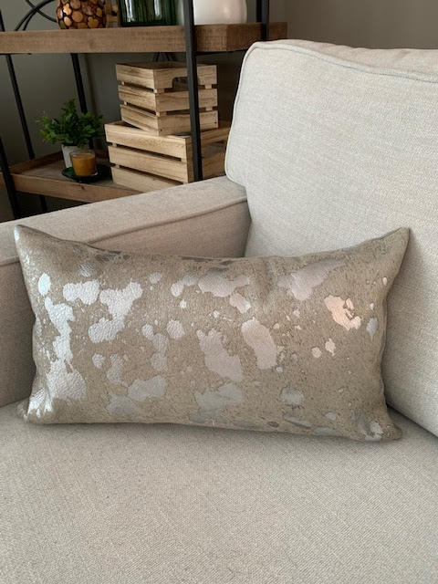 Silver Acid Washed Cowhide Pillow Cover - Lumbar - Size: 20 in x 11.5 in